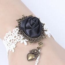 Gothic Black Rose Flower White Lace bronze heart pendant slave Ring Bracelet