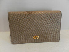 Bally Quilted Camel Lamb Vintage Clutch evening bag Vintage Auth.
