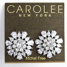 CAROLEE 'Uptown Girl' Clear CZ Large Button Silver-Tone Earrings $55