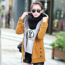 Womens Thicken Fleece Hooded Winter Warm Slim Coat Ladies Trench Jacket Outwear