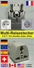 Multi - Reiseadapter / Reisestecker für Frankreich, Deutschland und Spanien