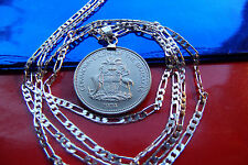 """RARE 1974  BAHAMAS Coat of Arms Coin Pendant on a 30"""" 925 Sterling Silver Chain"""