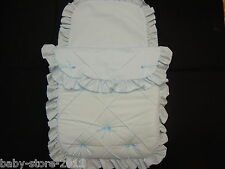Beautiful Pram Quilt and Pillow case  Set suitable for MOST PRAMS  COLOUR  BLUE