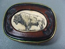 BISON BUFFALO BELT BUCKLE BRASS SCRIMSHAW