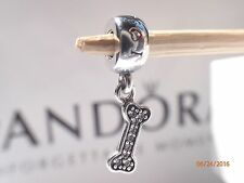 Authentic Pandora Bone Charm I Love My Dog Dangle # 791263CZ