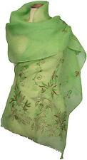 Schal Leinen, Grün edel bestickt, florales Muster Sommer scarf linen summer