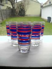 Six Never Used Crisa 18 Ounce Glasses With Red And Blue Stripes - Super Nice