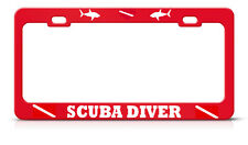 SCUBA DIVER License Plate Frame LOVE HEART SCUBA DIVING RED Tag Border Metal