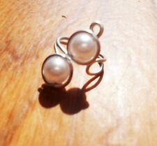 Silver and white ocean pearl simple ear cuff no pierce elven ear cuff