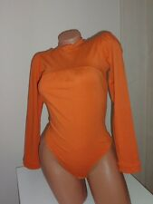new  lady cotton orange bodysuit S mockneck  thong bottom leotard blouse