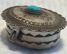 Signed HERBERT CAYATINETO Vintage NAVAJO Sterling Silver Jewelry TRINKET BOX