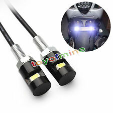 2pcs White LED Universal Motorcycle Car License Plate Screw Bolt Light Lamp Bulb