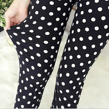 BLACK & WHITE A POIS Extra Morbido Leggings - 8 - 12 UK, 80s POP tratteggiata Yoga
