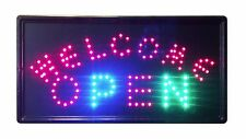 "LED Neon Welcome Open 06 Animated Sign 2 On/Off Switches Chain 10""x19"" bright"