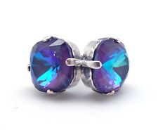 CATHERINE POPESCO 12mm Ultra Purple Swarovski Crystal Silver Stud Earrings 1/2""