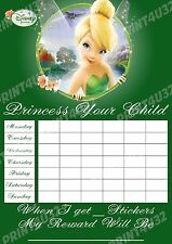 Disney Tinker Bell Reusable Potty Training Chart with Fairy stickers and pen