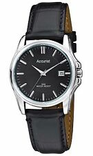 Accurist Gents Classic Black Stainless Steel Watch Black Leather Strap MS877B