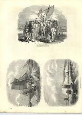 1854 incisioni che vendono pesce Sgombro asta multipla BARCHE Beachy Head