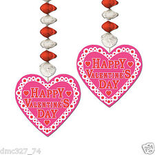2 pc Set HAPPY VALENTINE'S DAY  Party Hanging Decoration HEART DANGLERS