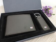 BNWT Tommy Hilfiger Brown Leather Eton Wallet & Keyring Gift Set