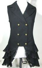 SPIN DOCTOR M or L Black Peplum VEST Sleeveless Waist Coat Steampunk Goth
