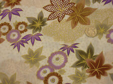 Quilting Fabric Japanese Style Leaves Flowers Purple Red 100% Cotton Fat Quarter