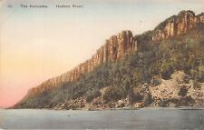 HUDSON RIVER NEW YORK THE PALISADES~HANDCOLORED~ALBERTYPE~DAY LINE POSTCARD 1920