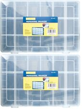 2x Large 18 Compartment Storage Box Craft For Jewellery Beads Hobby Tool Finding