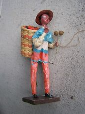 VINTAGE Colorful Mexican Papier Mache Worker Doll - With Basket - Mexico