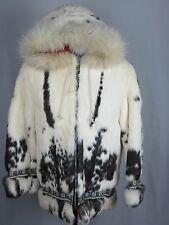 Vintage Women White & Dark Brown Rabbit Fur Basic Jackets With Hoods Size 8