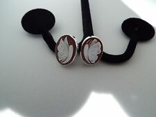 Master Hand carved Sardonyx shell butterfly earrings set in Italian sliver