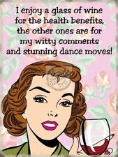 Wine & Dance Moves, Retro Girl, Funny/Humorous Classic, Quality Fridge Magnet
