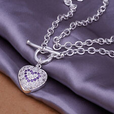 Attractive Gift! 925Sterling Silver Pretty Zircon Heart Pendant Necklace NP277