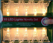 Eiffel Tower Lights - 10 LED white lights, battery operated with timer. Unique