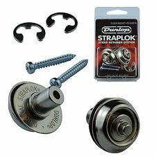 Dunlop Guitar Mount Straplocks Locking Strap Buttons (Flush Set Fitting) Nickel