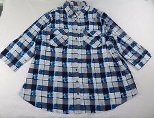 WOMENS blue button down DRESS BLOUSE SHIRT top = ANTILIA  FEMME = SIZE 3X = #p55