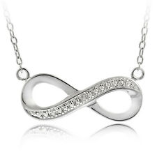 Silver Tone Brass Diamond Accent Infinity Necklace, 18""