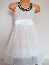 GIRLS WHITE SATIN JEWEL NECKLACE TRIM SHIMMERY CHIFFON PARTY DRESS age 5-6