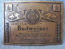 BUDWEISER BEER Belt Buckle Lewis Buckles Chicago USA 1970s HEAVY BRASS ~ NEW