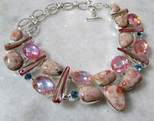 NATURAL 142 Cts RHODOCHROSITE & NATURAL RAINBOW TOPAZ  925 SILVER  NECKLACE