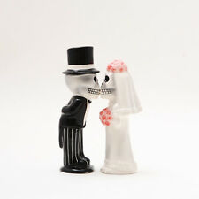 LOVE NEVER DIES MAGNETIC SALT PEPPER SHAKER SET- BRIDE AND GROOM SKELETON