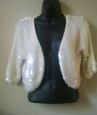Moda International Cream Shrug Sweater Iridescent Sequins M LN Victoria's Secret