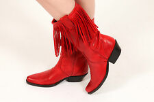 Vintage red leather SANCHEZ fringed cowboy boots - vintage western cowgirl boots