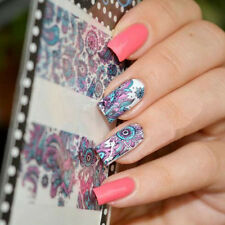 Nail Art Stickers Water Transfer Blue Flower Decals Tips 3D Decoration Manicure