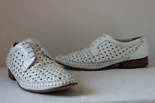 Vintage 'Sylens' white leather woven moccasin lace up shoes UK 10 mens 60s mod