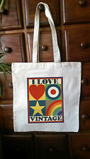 AMBIENTALE I LOVE VINTAGE shopper Shabby, Chic, Borsa Grande IN COTONE FOR LIFE