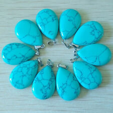 50pcs Wholesale Fashion Water Drop Blue Turquoise Stone Pendants Charms Teardrop