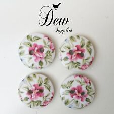 10 x 15mm Button Floral  Wood Buttons, wooden 2 hole Sew Sewing craft