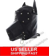 PU Leather Bondage Multifunctional Headgear Mask-Kinky Fetish Dog Slave Roleplay