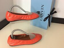 Lanvin Ballerina Flat Patent Leather Shoes Uk 3 Eu35 Coral NEW RRP £315, BNIB
